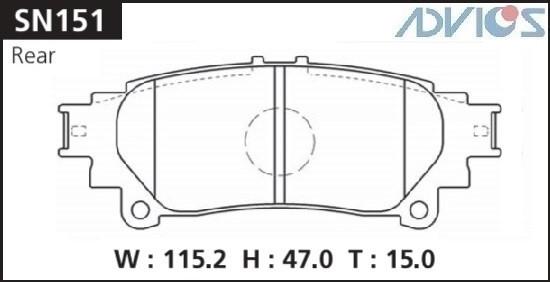 Дисковые тормозные колодки ADVICS SN151 SN151 купить в Абакане