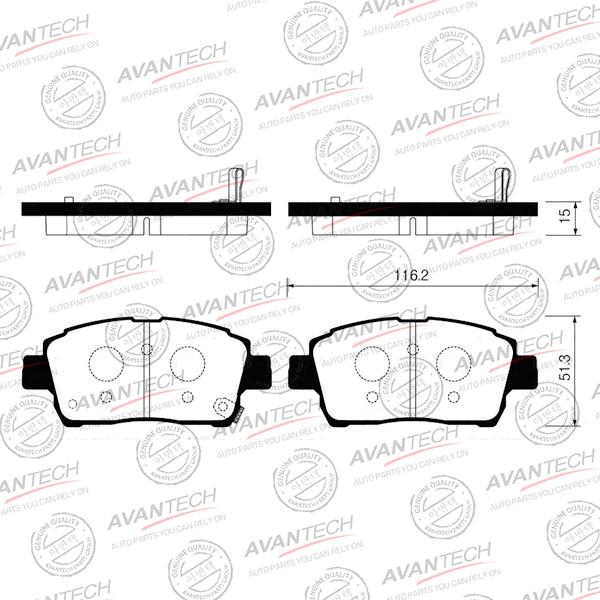 Колодки тормозные дисковые Avantech (противоскрипная пластина в компл.) - AV836 AV836 купить в Абакане