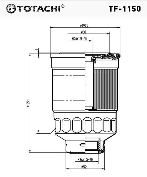 Фильтр топливный TOTACHI TF-1150 FC-409 16403-89TA0 TF-1150 купить в Абакане