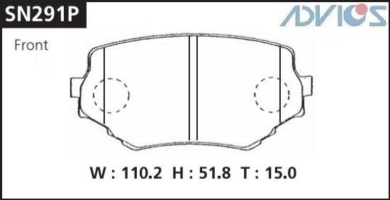 Дисковые тормозные колодки ADVICS SN291P SN291P купить в Абакане