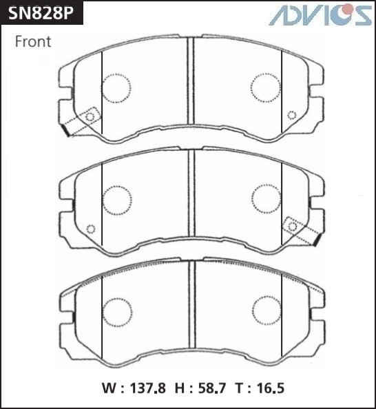 Дисковые тормозные колодки ADVICS SN828P SN828P купить в Абакане