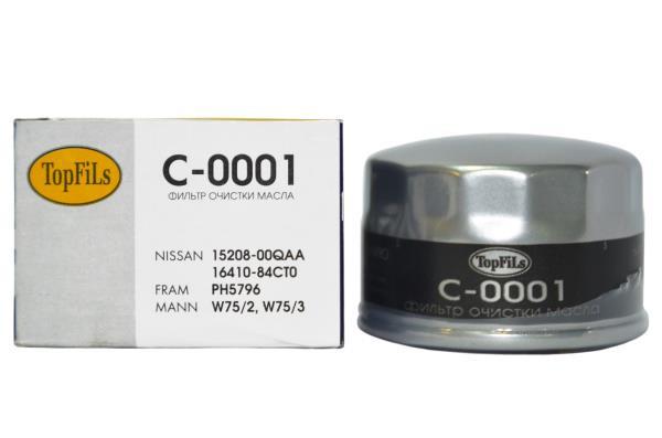 Фильтр масляный TOP FILS C-0001 15208-00QAA RENAULT LOGAN C-0001 купить в Абакане