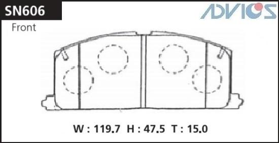 Дисковые тормозные колодки ADVICS SN606 SN606 купить в Абакане