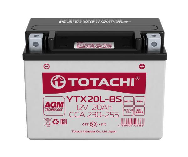 Аккумуляторная батарея TOTACHI CMF 20 а / ч YTX20L-BS L 4589904523366 купить в Абакане