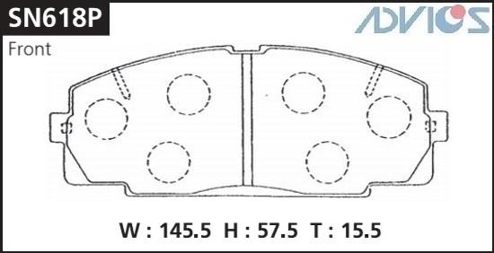 Дисковые тормозные колодки ADVICS SN618P SN618P купить в Абакане