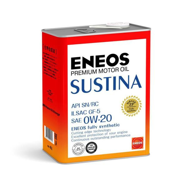 Моторное масло Масло моторное ENEOS SUSTINA SN Синтетика 0W-20 4л 4943589134628 купить в Владивостоке