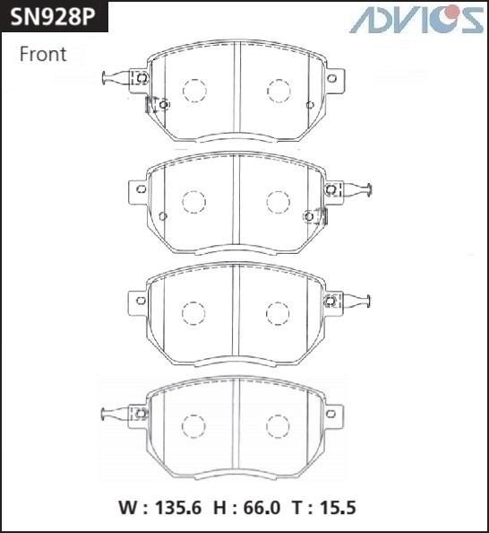Дисковые тормозные колодки ADVICS SN928P SN928P купить в Абакане