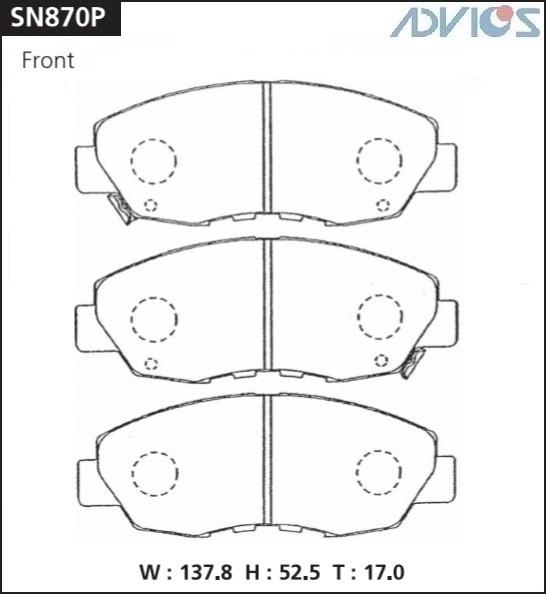 Дисковые тормозные колодки ADVICS SN870P SN870P купить в Абакане