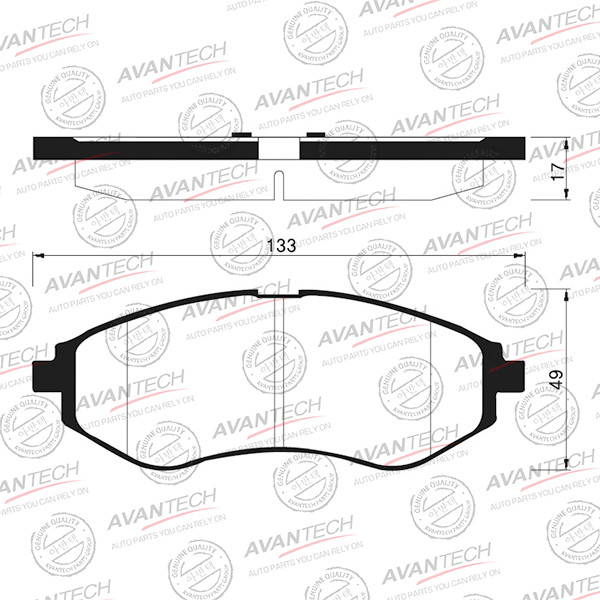 Колодки тормозные дисковые Avantech (противоскрипная пластина в компл.) - AV121 AV121 купить в Абакане