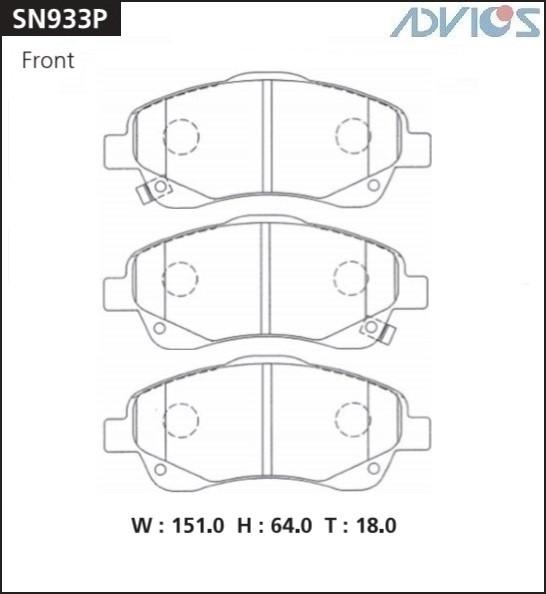 Дисковые тормозные колодки ADVICS SN933P SN933P купить в Абакане