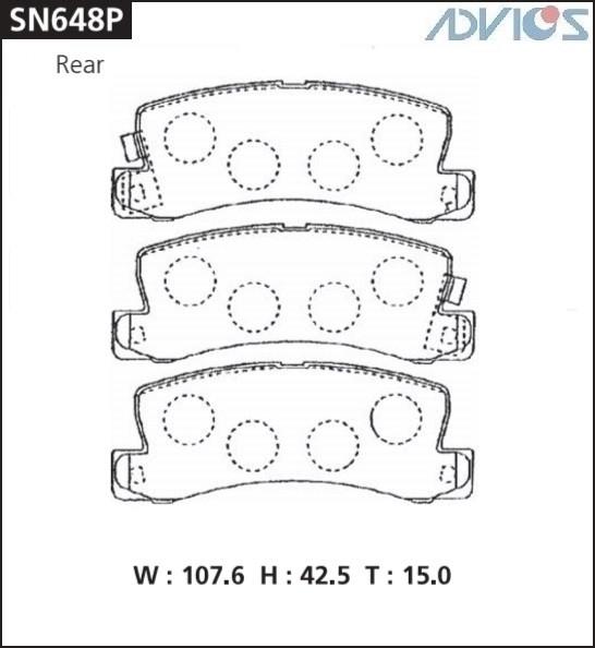 Дисковые тормозные колодки ADVICS SN648P SN648P купить в Абакане