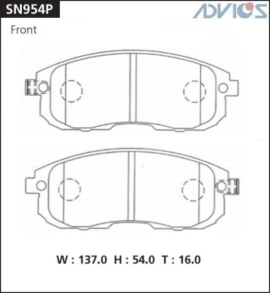 Дисковые тормозные колодки ADVICS SN954P SN954P купить в Абакане
