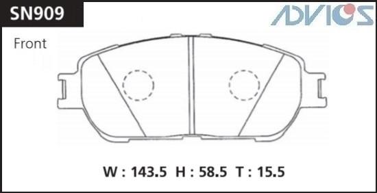 Дисковые тормозные колодки ADVICS SN909 SN909 купить в Абакане