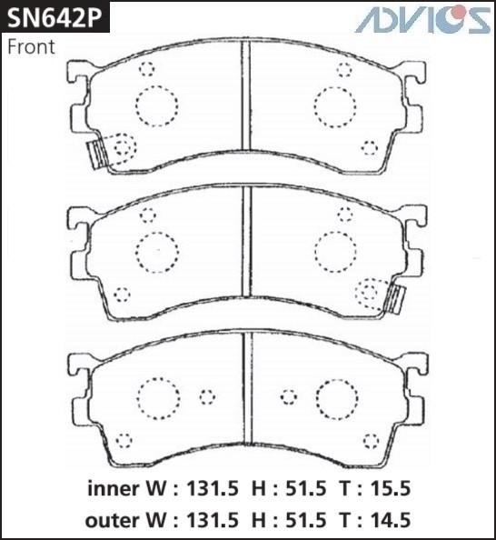 Дисковые тормозные колодки ADVICS SN642P SN642P купить в Абакане