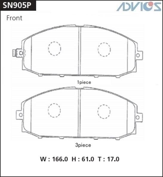 Дисковые тормозные колодки ADVICS SN905P SN905P купить в Абакане