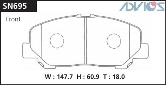 Дисковые тормозные колодки ADVICS SN695 SN695 купить в Абакане