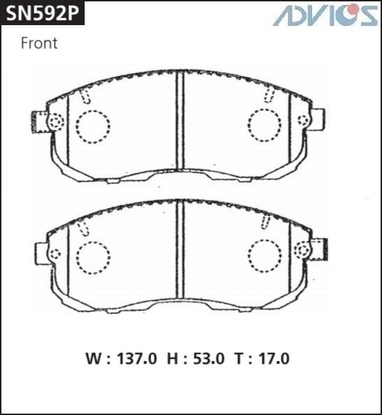 Дисковые тормозные колодки ADVICS SN592P SN592P купить в Абакане
