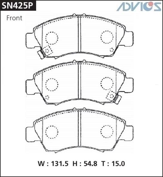 Дисковые тормозные колодки ADVICS SN425P SN425P купить в Абакане
