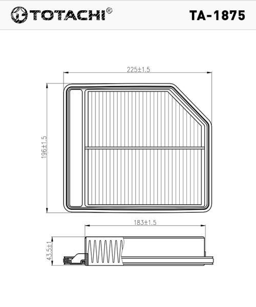 Фильтр воздушный TOTACHI TA-1875 A-886 V 17220-RNA-A00 MANN C 2240 TA-1875 купить в Абакане