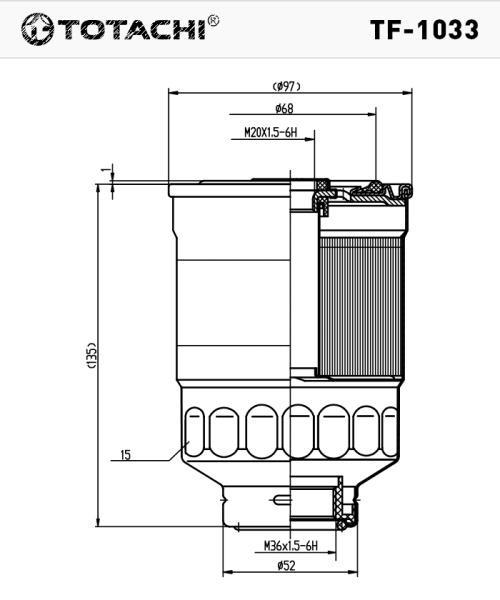 Фильтр топливный TOTACHI TF-1033 FC-321 MB220900 MANN WK 918x, WK 940 / 11x, WK 940 / 16x TF-1033 купить в Абакане