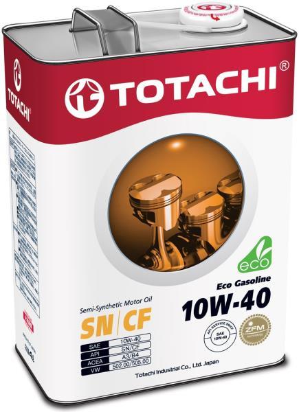 Моторное масло Полусинтетическое моторное масло TOTACHI Eco Gasoline SN / CF 10W-40 4л 4589904934919 купить в Барнауле