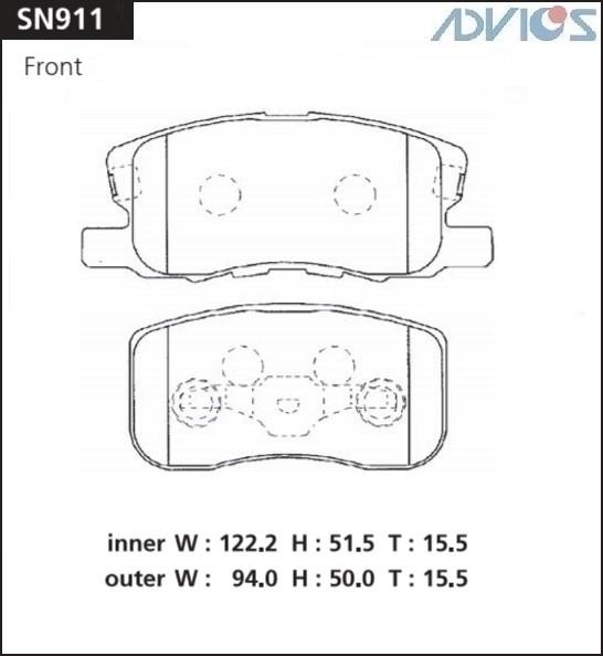 Дисковые тормозные колодки ADVICS SN911 SN911 купить в Абакане