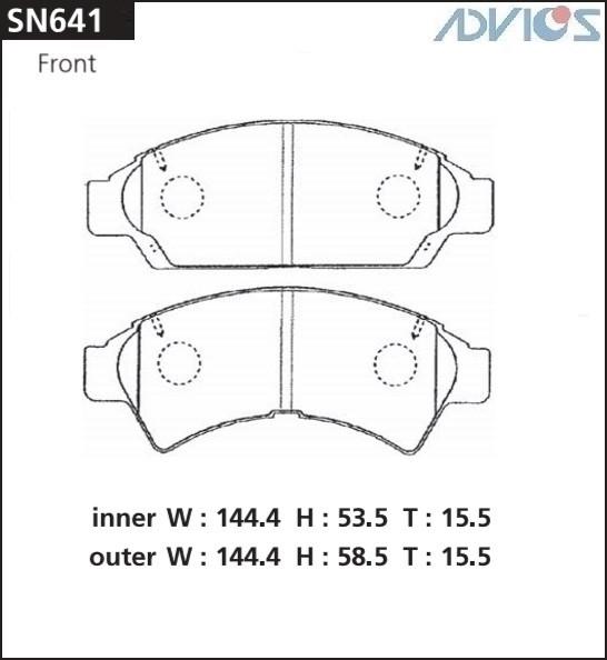 Дисковые тормозные колодки ADVICS SN641 SN641 купить в Абакане