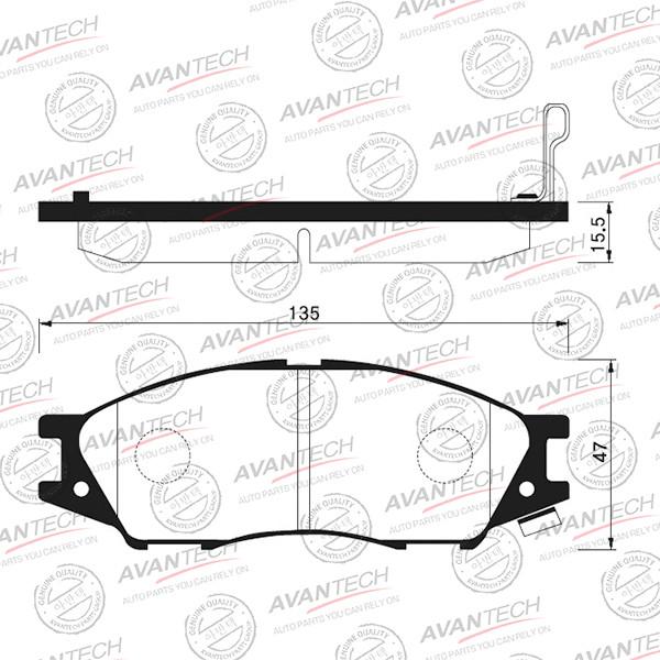 Колодки тормозные дисковые Avantech (противоскрипная пластина в компл.) - AV734 AV734 купить в Абакане