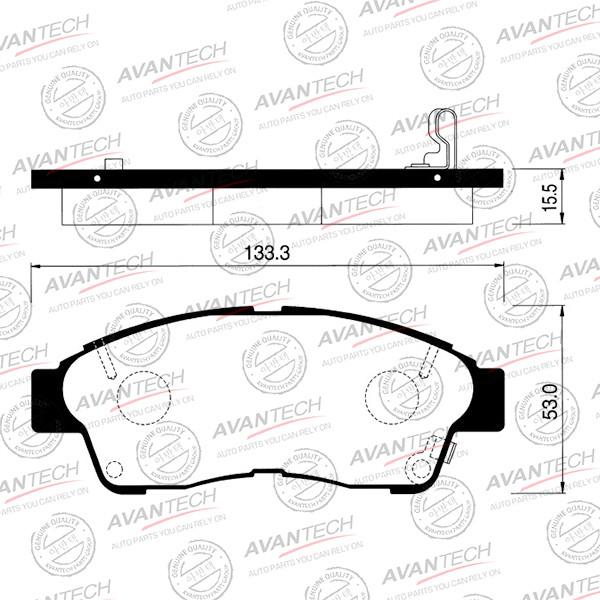 Колодки тормозные дисковые Avantech (противоскрипная пластина в компл.) - AV795 AV795 купить в Абакане