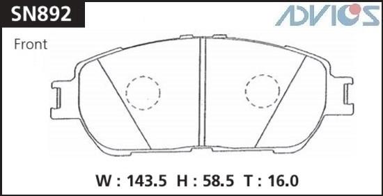 Дисковые тормозные колодки ADVICS SN892 SN892 купить в Абакане