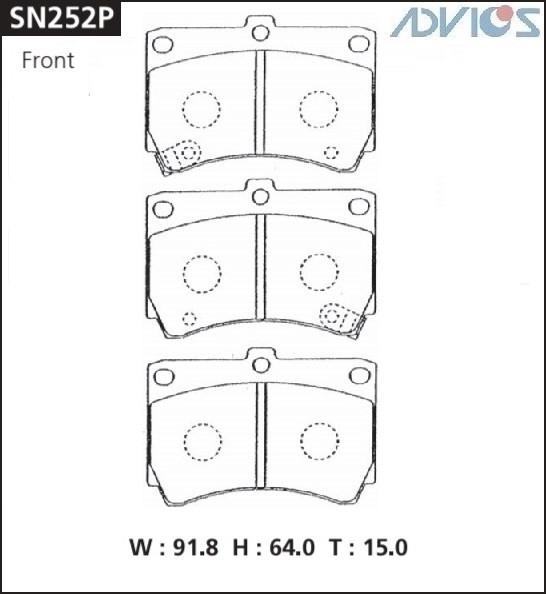 Дисковые тормозные колодки ADVICS SN252P SN252P купить в Абакане