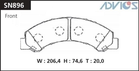 Дисковые тормозные колодки ADVICS SN896 SN896 купить в Абакане