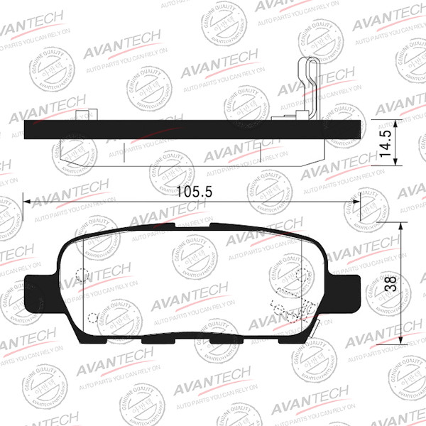 Колодки тормозные дисковые Avantech (противоскрипная пластина в компл.) - AV1041 AV1041 купить в Абакане