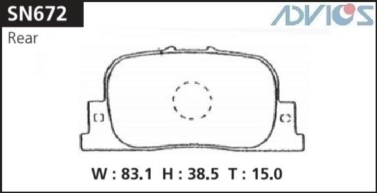 Дисковые тормозные колодки ADVICS SN672 SN672 купить в Абакане