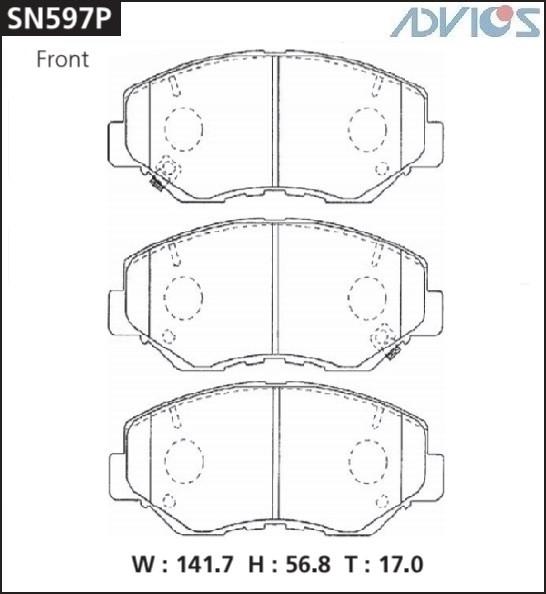 Дисковые тормозные колодки ADVICS SN597P SN597P купить в Абакане