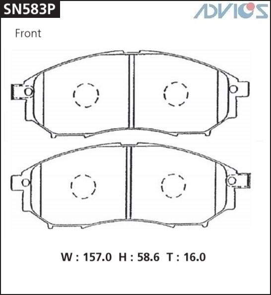Дисковые тормозные колодки ADVICS SN583P SN583P купить в Абакане