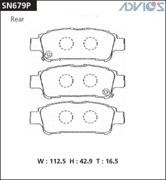 Дисковые тормозные колодки ADVICS SN679P SN679P купить в Абакане
