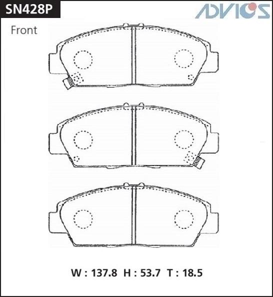 Дисковые тормозные колодки ADVICS SN428P SN428P купить в Абакане