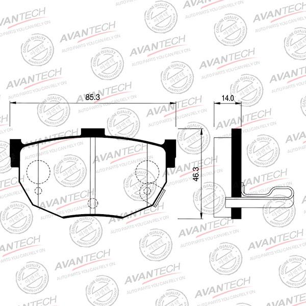 Колодки тормозные дисковые Avantech (противоскрипная пластина в компл.) - AV025 AV025 купить в Абакане