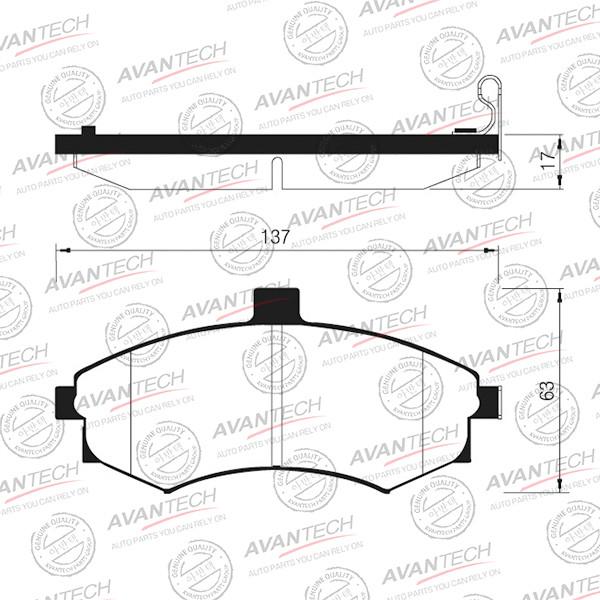 Колодки тормозные дисковые Avantech (противоскрипная пластина в компл.) - AV115 AV115 купить в Абакане