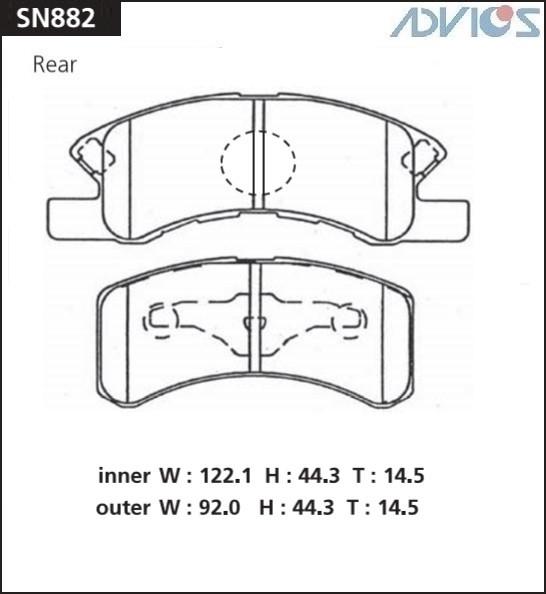 Дисковые тормозные колодки ADVICS SN882 SN882 купить в Абакане