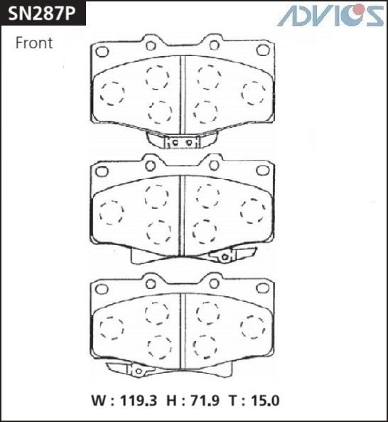 Дисковые тормозные колодки ADVICS SN287P SN287P купить в Абакане