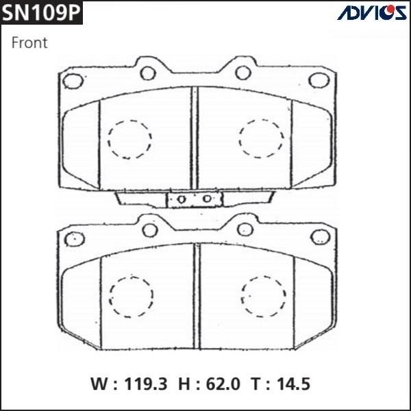 Дисковые тормозные колодки ADVICS SN109P SN109P купить в Абакане