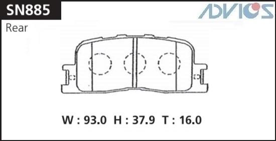 Дисковые тормозные колодки ADVICS SN885 SN885 купить в Новосибирске