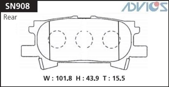 Дисковые тормозные колодки ADVICS SN908 SN908 купить в Абакане