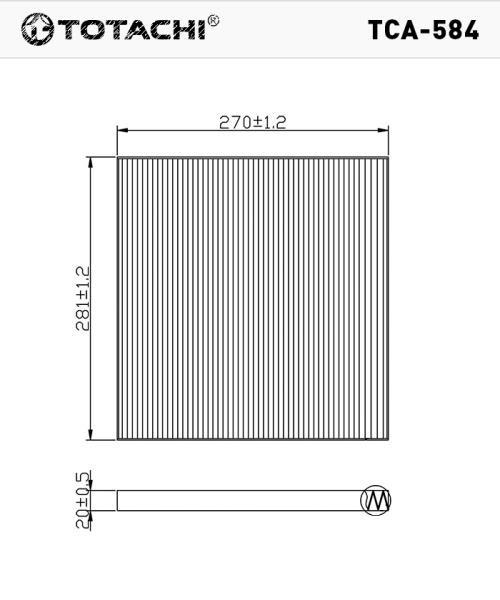 Фильтр салона TOTACHI TCA-584 AC-209 E B7277JN20A CU29001 TCA-584 купить в Абакане