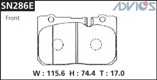 Дисковые тормозные колодки ADVICS SN286E SN286E купить в Абакане