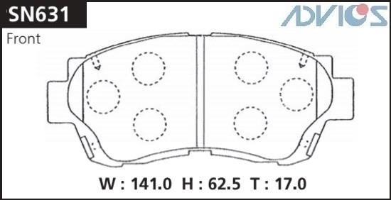 Дисковые тормозные колодки ADVICS SN631 SN631 купить в Абакане