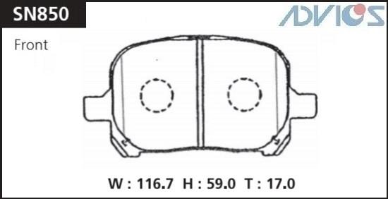 Дисковые тормозные колодки ADVICS SN850 SN850 купить в Абакане