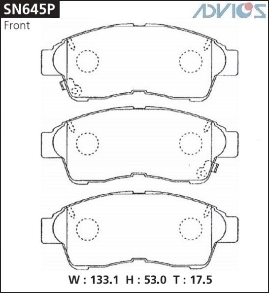 Дисковые тормозные колодки ADVICS SN645P SN645P купить в Абакане